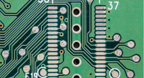 Green circuit board with vias in the center