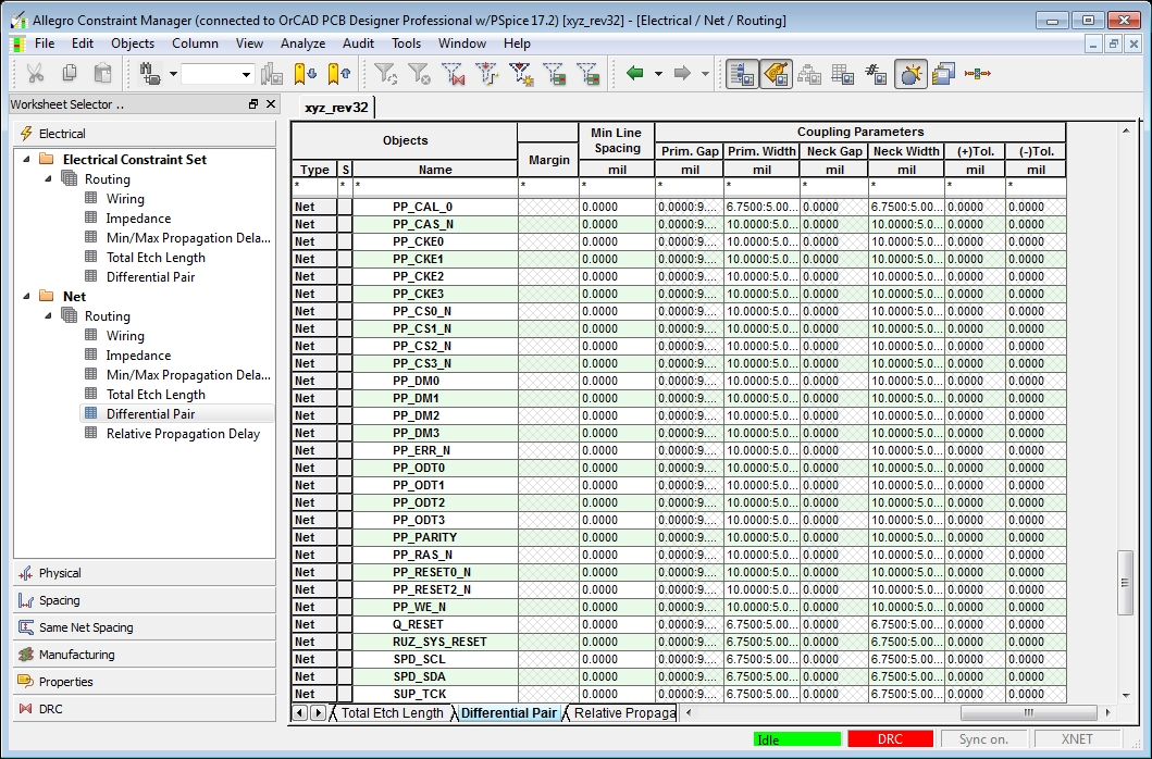 Screenshot of the Cadence constraint manager in Electronic Interconnect Design Considerations