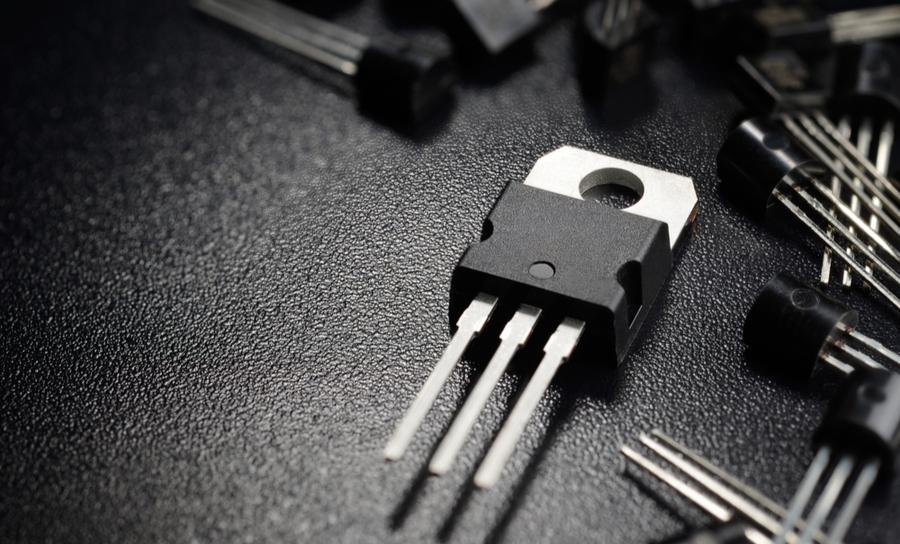 Transistors on a black background