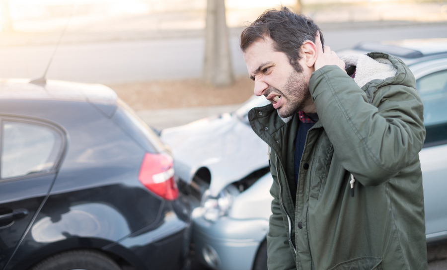 Man with whiplash after an accident