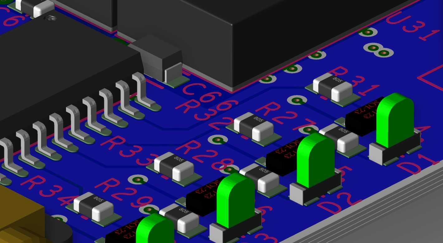 3D screenshot of OrCAD PCB Designer showing resistors and other components