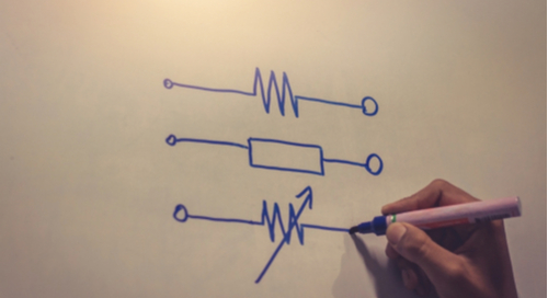 A picture of some hand-drawn symbols in types of resistors and their applications