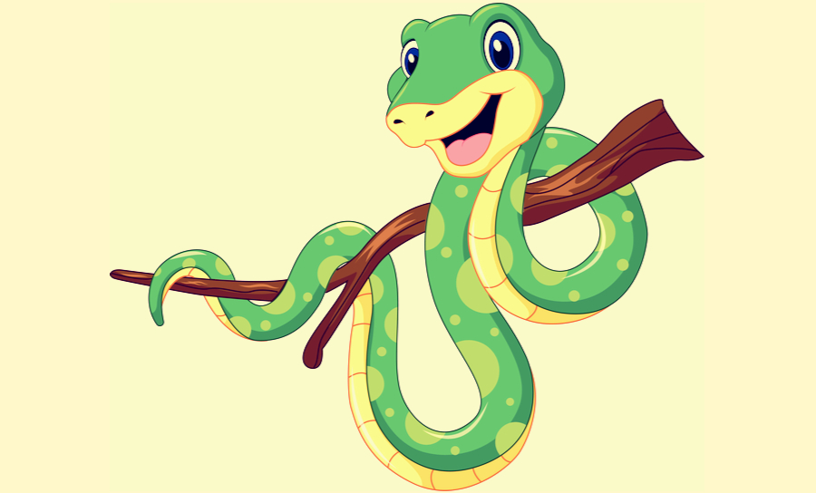 Cartoon picture of snake with coiled in a serpentine around a branch
