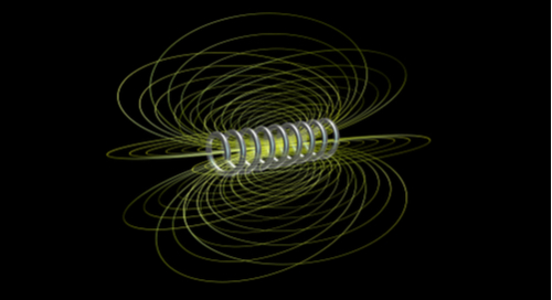 Magnetic field represented in a coil on a black background