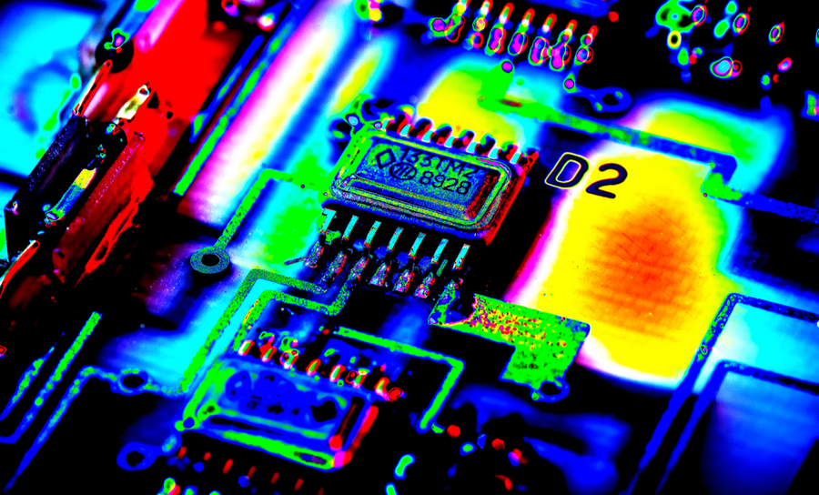 Thermal image of a PCB