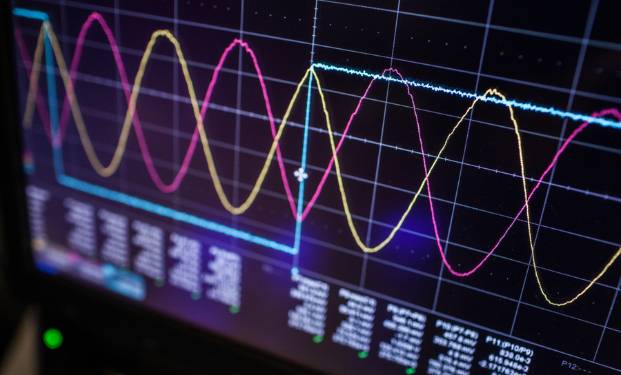 Oscilloscope with traces in the time domain