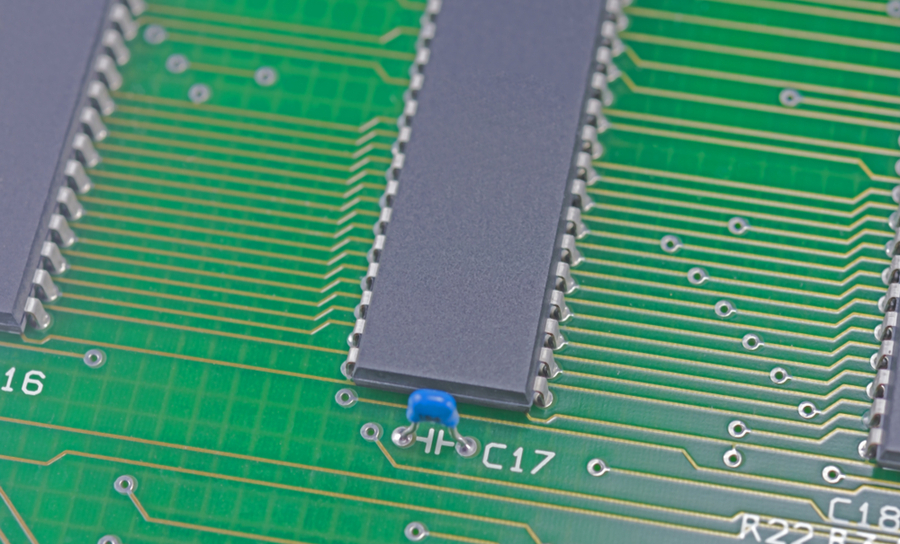 ICs on a green PCB