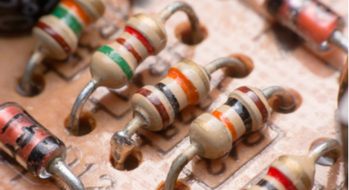 Close-up of resistors on a circuit board