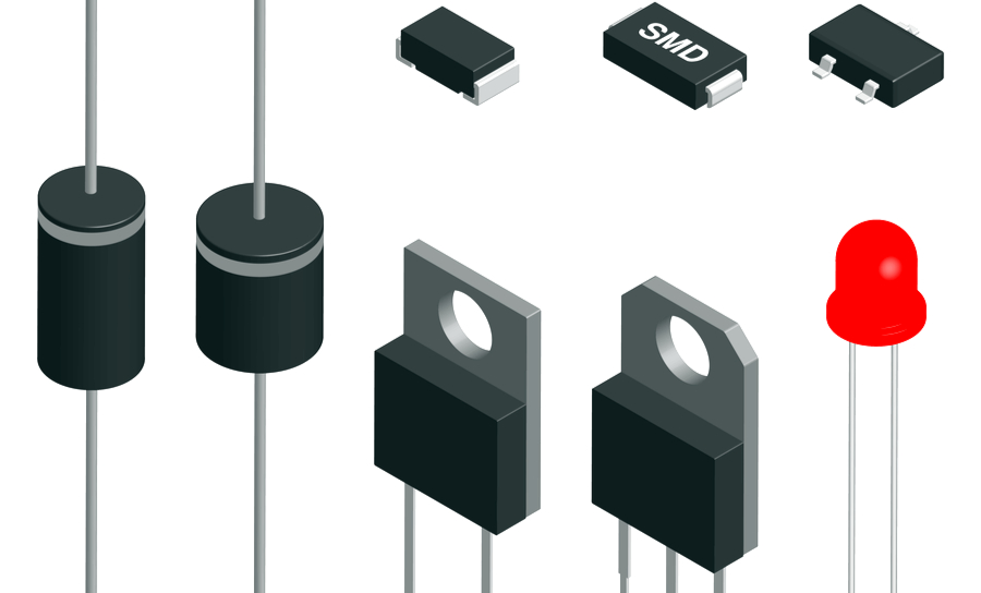 Various types and shapes of diodes