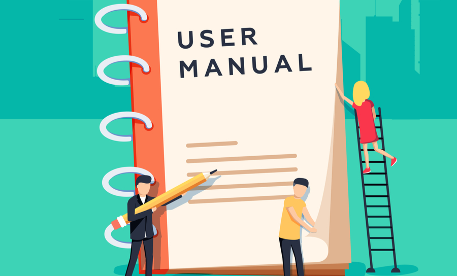 Vector of figures arranging a user manual