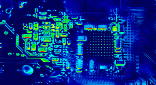 Circuit board under thermal imaging