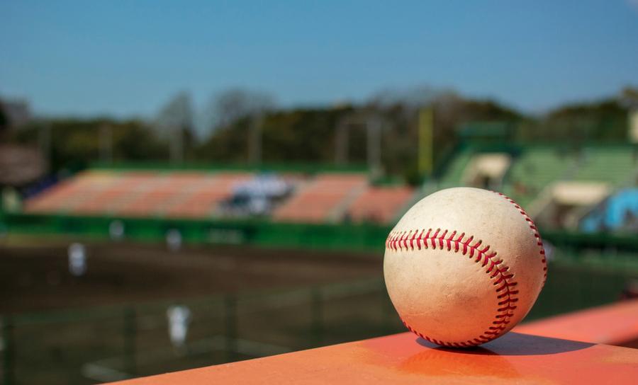 Baseball overlooking a baseball field and stadium