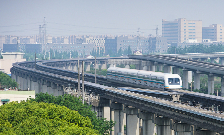 Magvel train over Shanghai