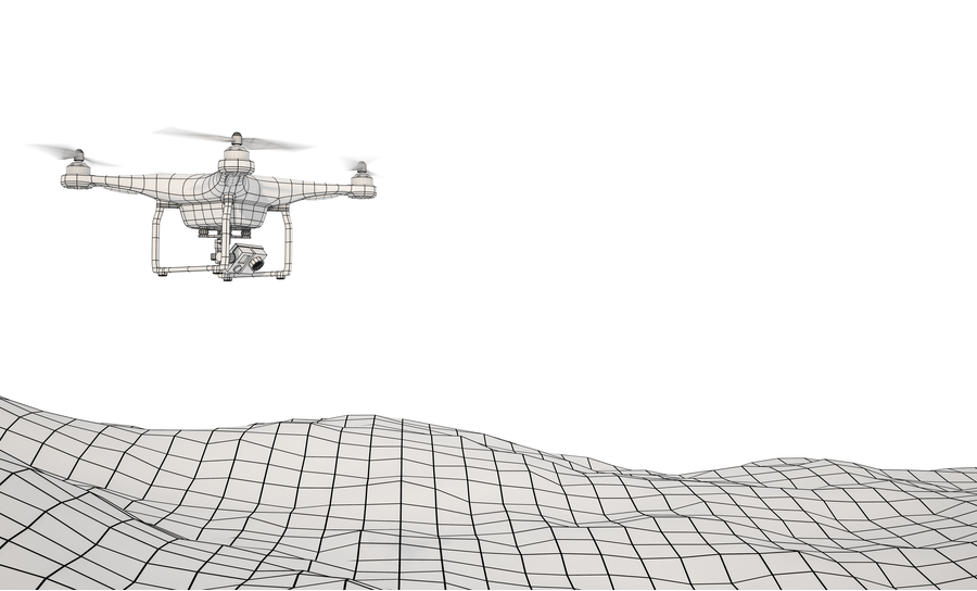 Drone flying over grid-landscape on white background