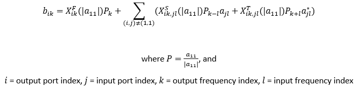 X-parameters equation determined with load pull analysis