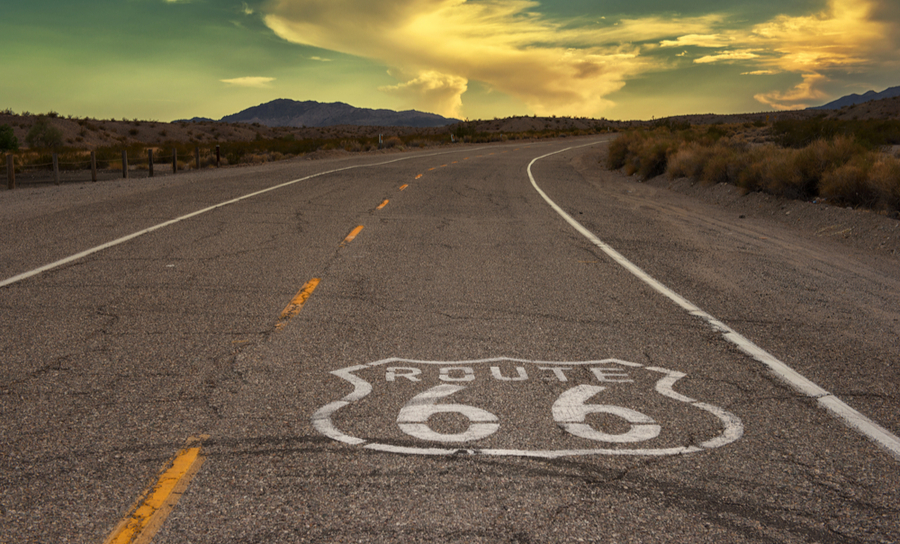 Picture of taking the long route on route 66 at sunset