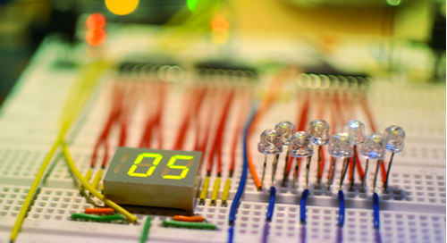 Picture of a test circuit for an LED electronic