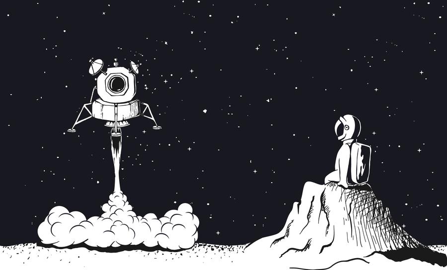 Astronaut watching a lunar module landing