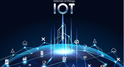 Graphic of IoT icons spread across the globe