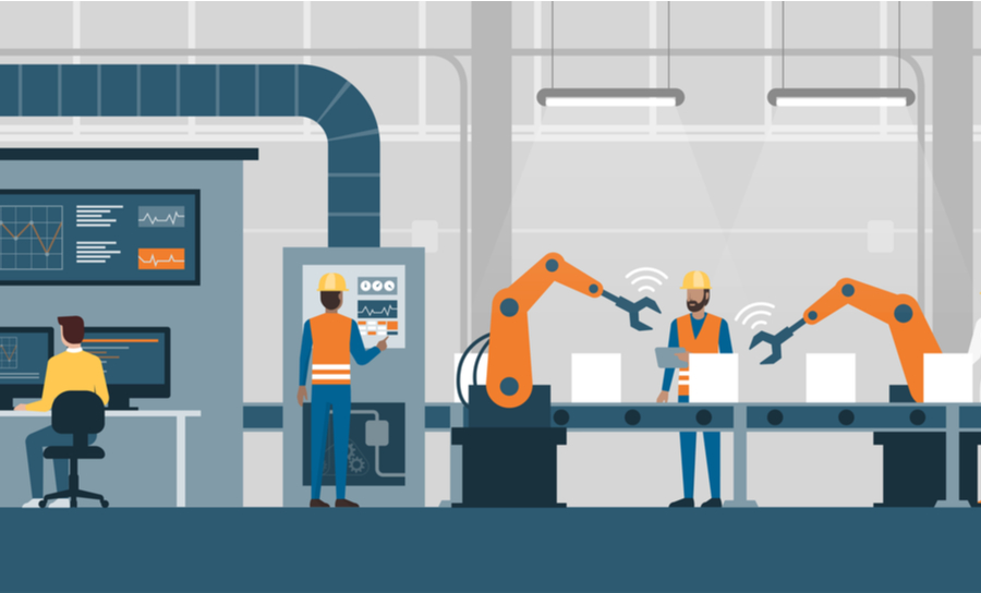 Robots working alongside workers on an assembly line