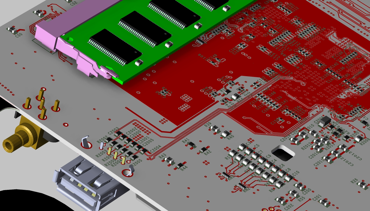 Screenshot of a 3D layout from OrCAD PCB Designer and OrCAD Capture