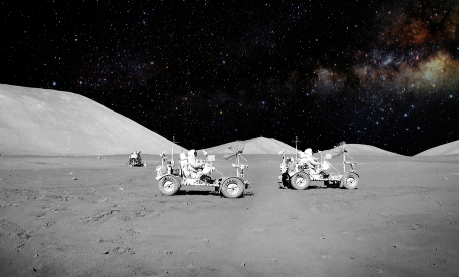 Lunar rovers in space, moving across the moon