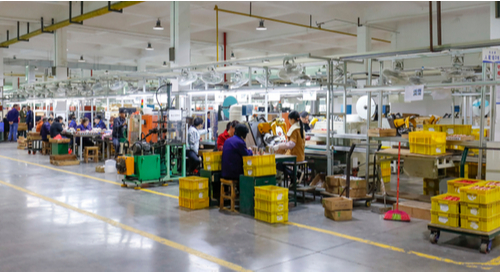 Electronics production line in a warehouse in China