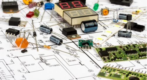 Electronic components on a schematic