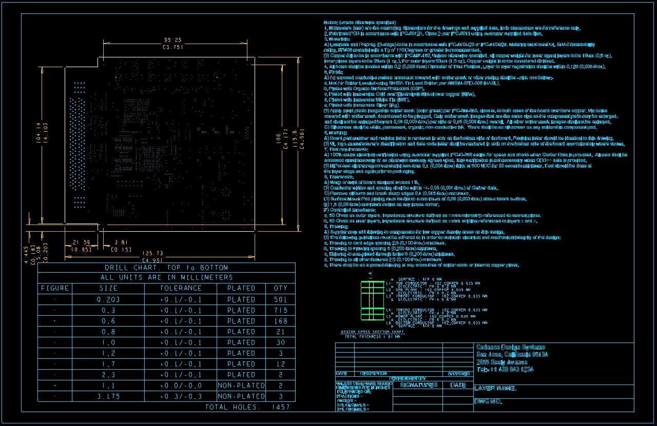 Screenshot of the fabrication and assembly drawing in OrCAD designer