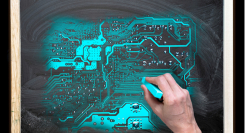 artist drawing circuit board