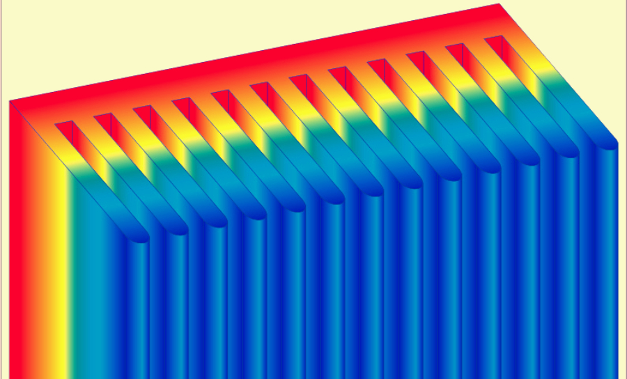 Temperature distribution in a PCB heatsink