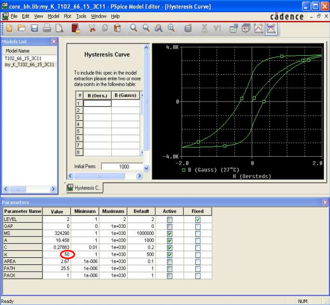 PSpice's Model Editor for a B-H curve