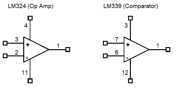 LM324 and LM339 pin diagrams