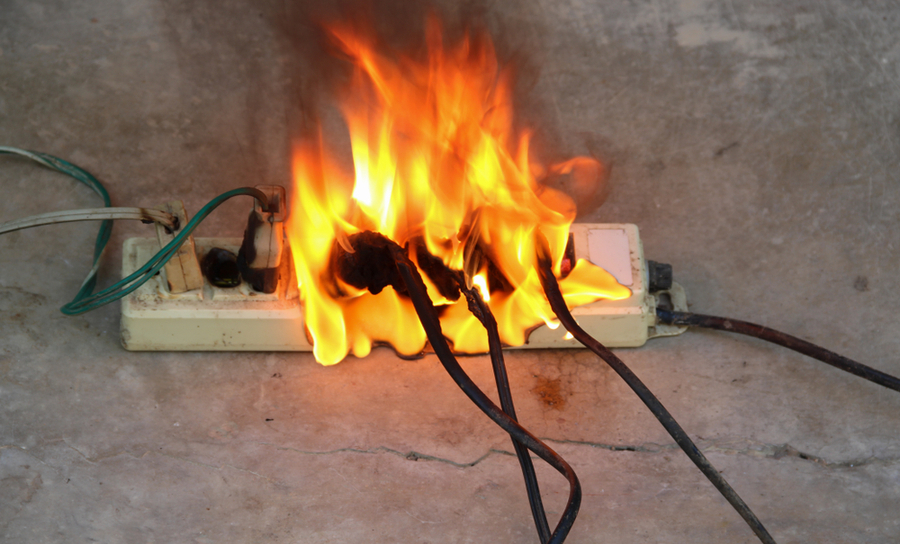 Electrical fire on a power strip