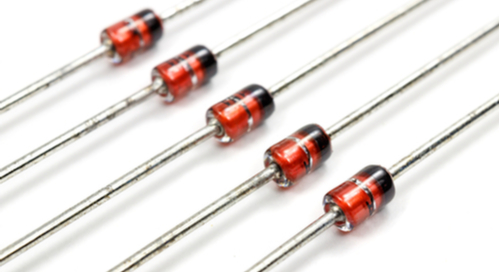 Zener diodes on white background