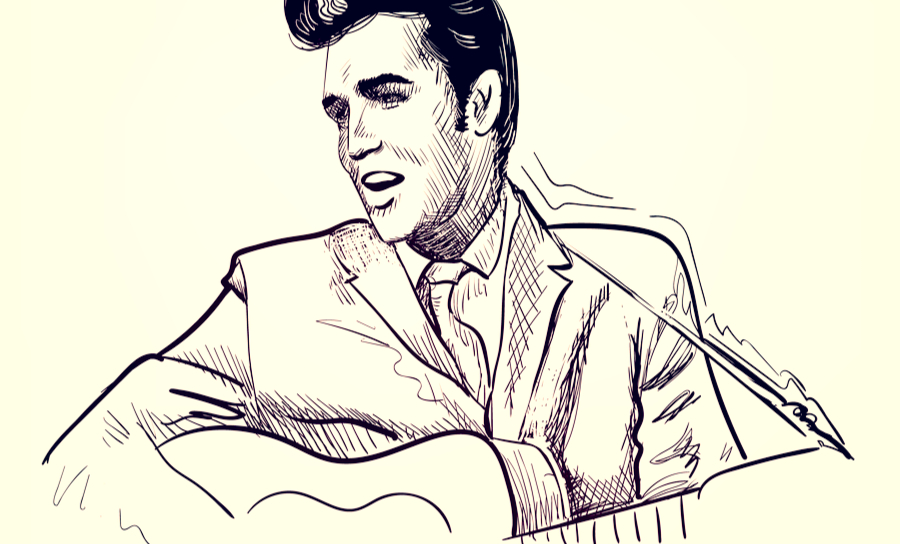 Sketch of Elvis Presley setting the standard for carrying a tune