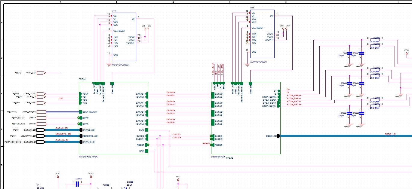 Screenshot of a printed circuit board schematic created with OrCAD Capture