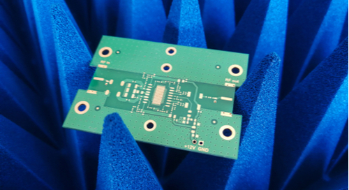 RF PCB on blue EMC absorbers