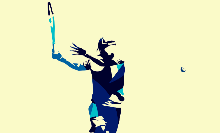 Vector image of a tennis player in blue