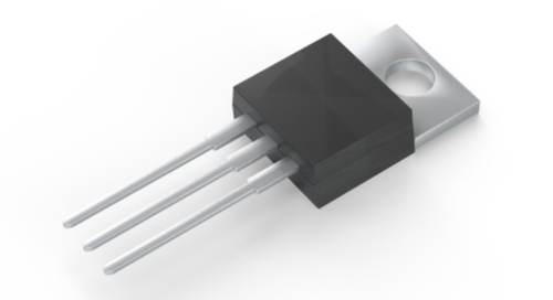 Picture of a MOSFET transistor on its side