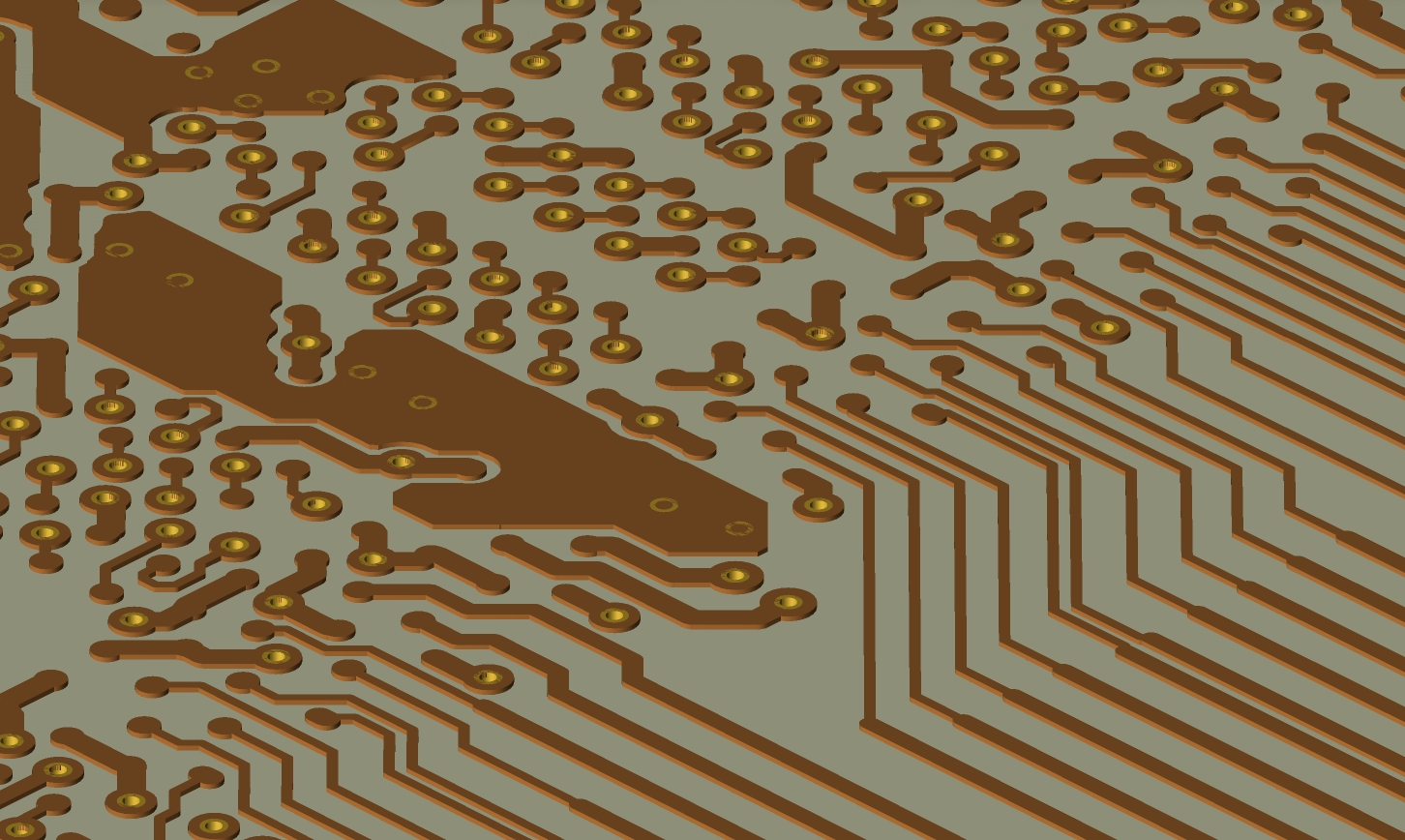 Conductors and vias in a PCB layout