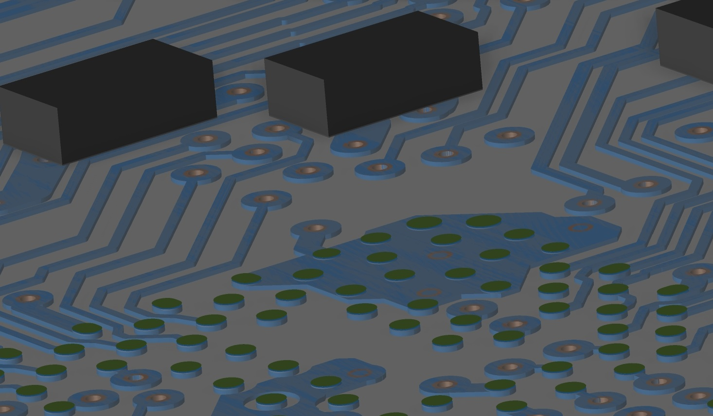 Vias, traces, copper pour, and components in a 3D PCB layout