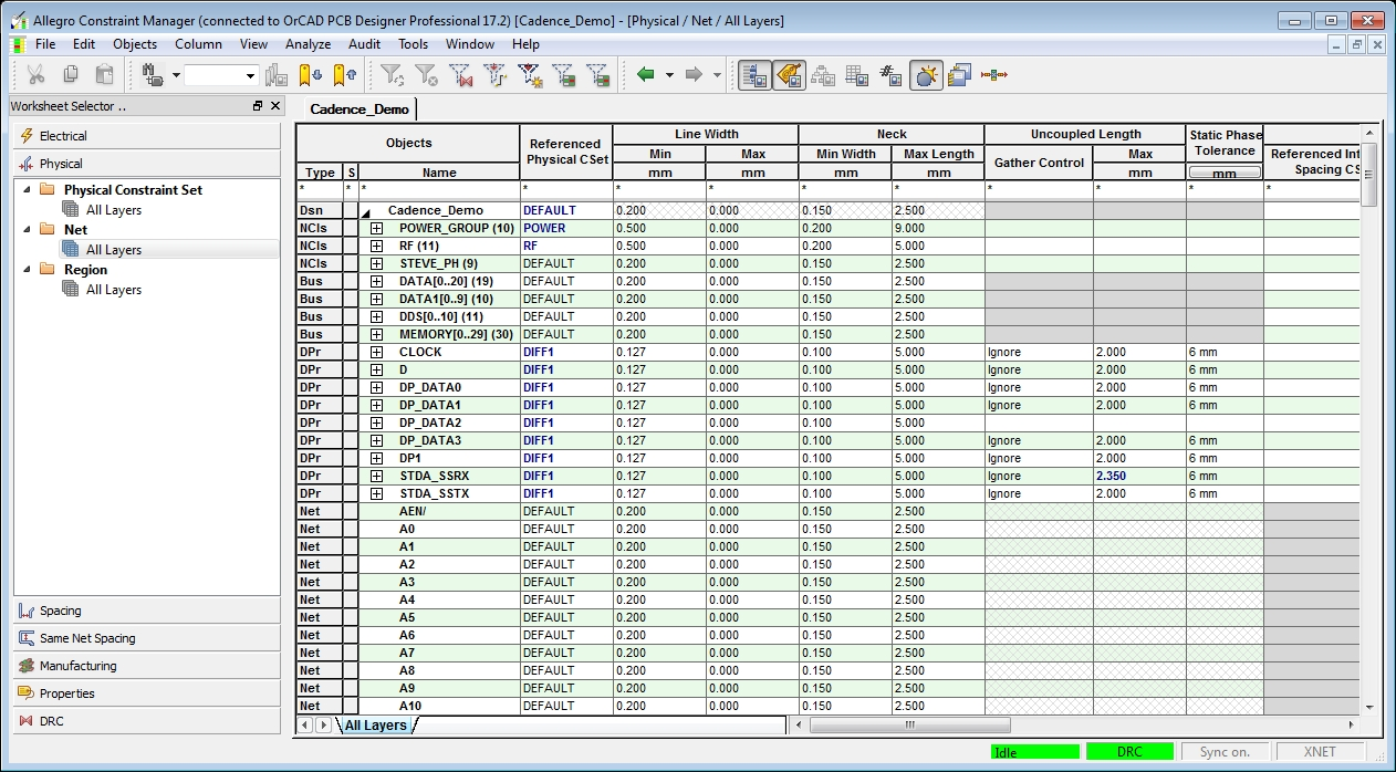 Screenshot of OrCAD PCB Designer Constraint Manager