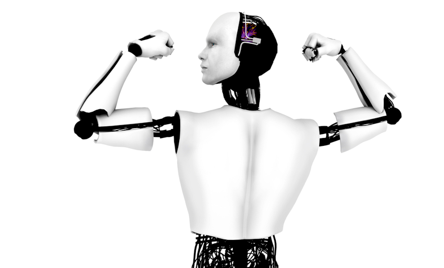 Robot in a traditional bicep flexing pose