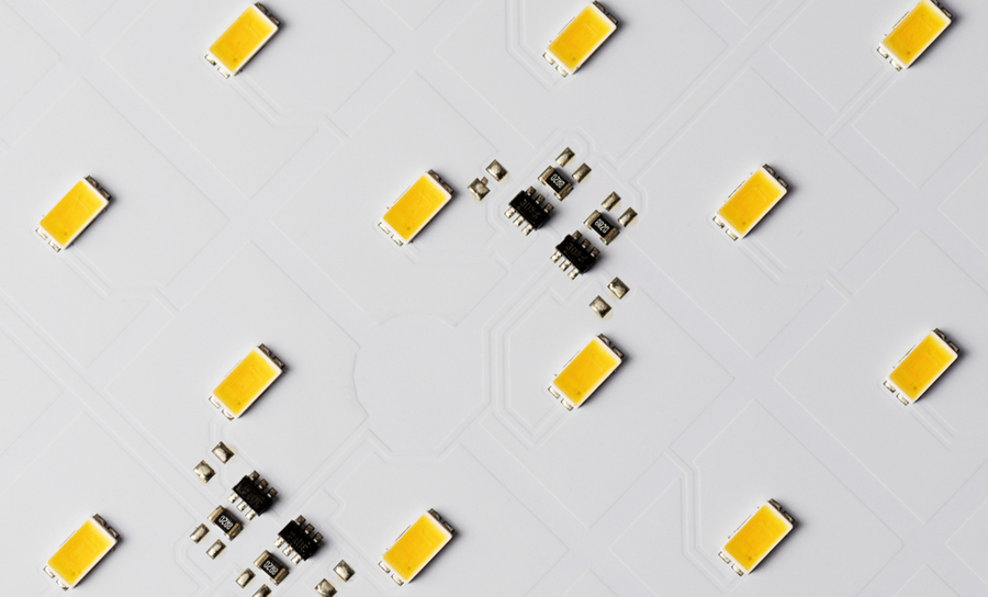 Electrical components over a white background