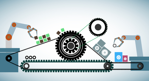 Gears and electronics on a conveyor belt