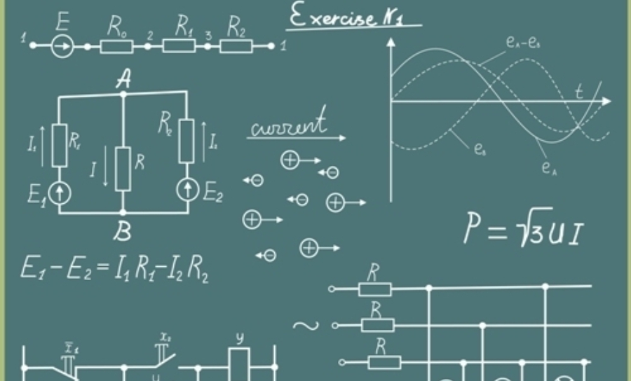 Formulas and electric schemes on a chalkboard