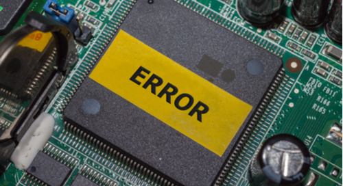 Printed circuit board that says error overtop