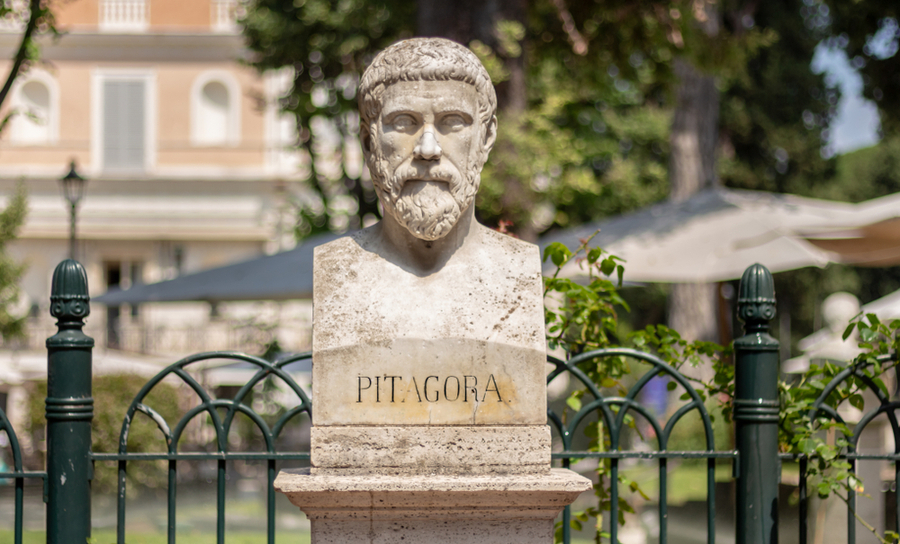Sculpture of Pythagoras in Rome, Italy