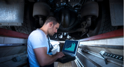 Engineer working on automotive analysis and testing
